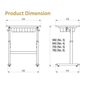 Manabu AH-01 Table Dimension